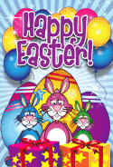 Bunnies Eggs Presents Easter Card