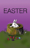 Bunny in a Stump Easter Card