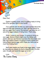 Easter Bunny Letter No Dyed Eggs