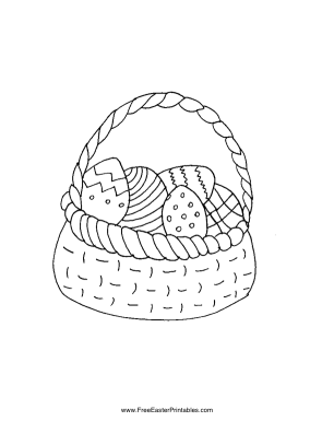 Basket with Eggs Easter Coloring Page