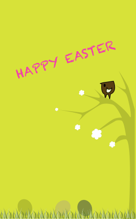 Bird in Tree Easter Card
