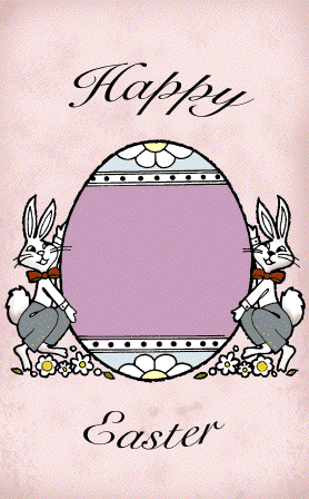 Bunnies Presenting Egg Easter Card