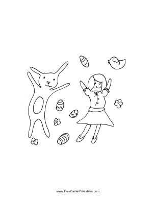 Bunny with Girl Easter Coloring Page