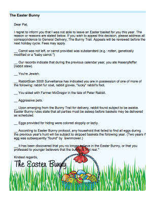 Easter Bunny Funny Checkbox Letter For Adults