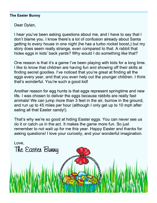 Easter Bunny Letter Answering Questions