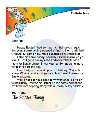 Easter Bunny Letter Boy Morning
