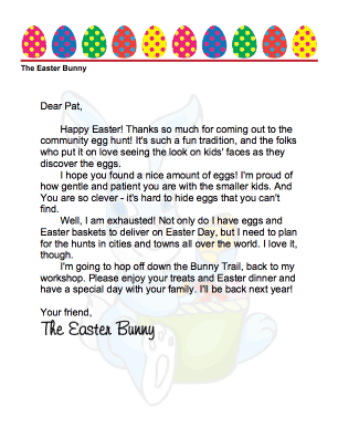 Easter Bunny Letter Community Egg Hunt