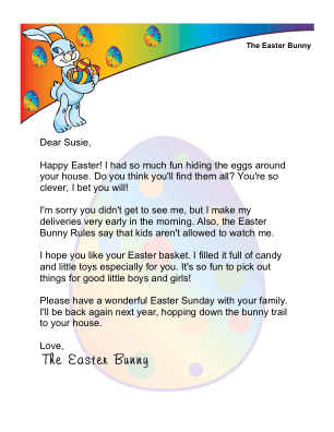 photograph regarding Letter From Easter Bunny Printable named Printable Easter Early morning Letter versus The Easter Bunny