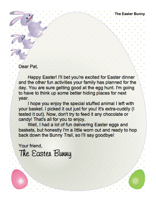 Printable easter bunny letter enjoy stuffed animal for Letter to easter bunny template