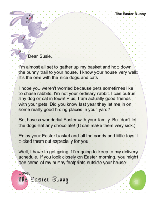 Letter from The Easter Bunny to a Family That Has Pets