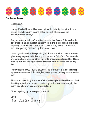 image relating to Letter From Easter Bunny Printable identified as Printable Letter towards The Easter Bunny toward a Female