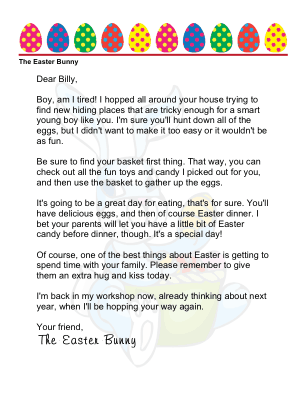 easter morning letter from the easter bunny to a boy