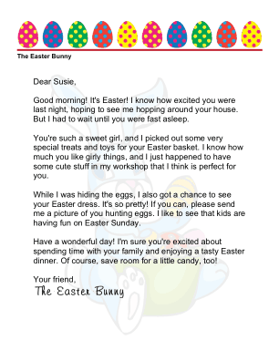 Easter Morning Letter from The Easter Bunny to a Girl