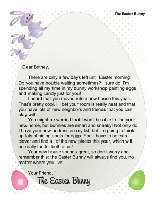 Printable easter bunny letter new house for Letter to easter bunny template