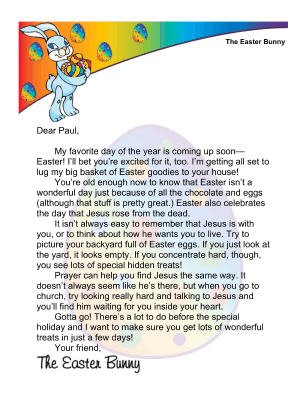 Easter Bunny Letter Prayer