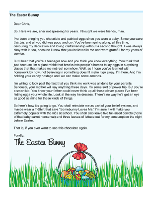 printable easter bunny letter teenager