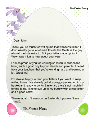 Easter Bunny Letter to Child Who Wrote a Letter