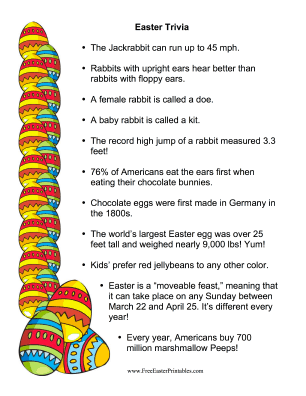printable easter fun facts