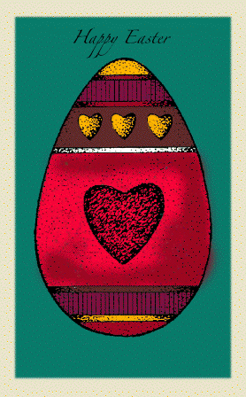 Egg with Hearts Easter Card