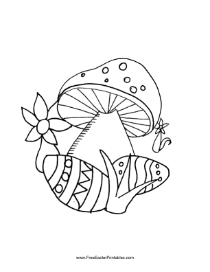 Eggs Under Mushroom Easter Coloring Page