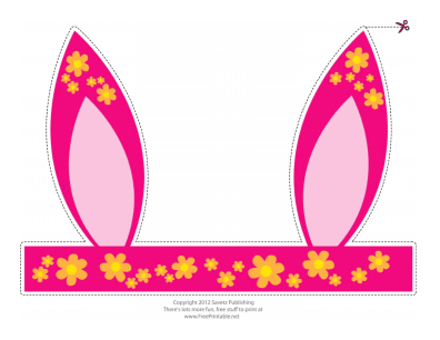 Printable Flowered Easter Bunny Ears