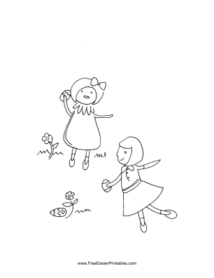 Girls in Garden Easter Coloring Page