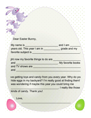 Letter to the Easter Bunny