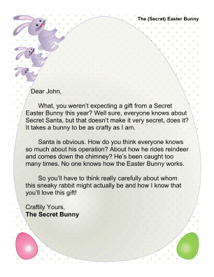 Secret Easter Bunny Letter